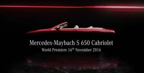 2017 Mercedes-Maybach S 650 Cabriolet Teased Ahead of LA Auto Show Debut