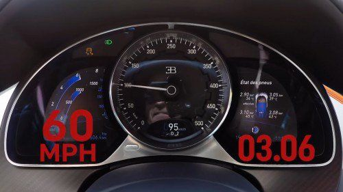 Watch the Bugatti Chiron Speedometer Go Nuts in a 0-200 MPH Sprint