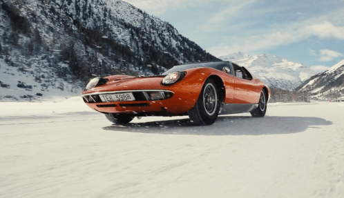 Lamborghini Miura goes sideways on snow to tell a different Winter's Tale