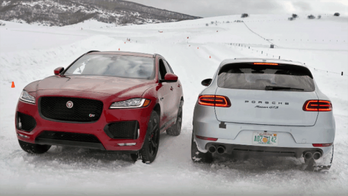Porsche Macan GTS takes on Jaguar F-Pace S in snow driving head to head challenge