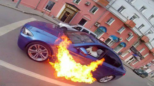 BMW M5 spontaneously combusts in Russia