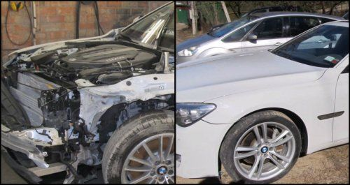 BMW 7 Series Totaled collage