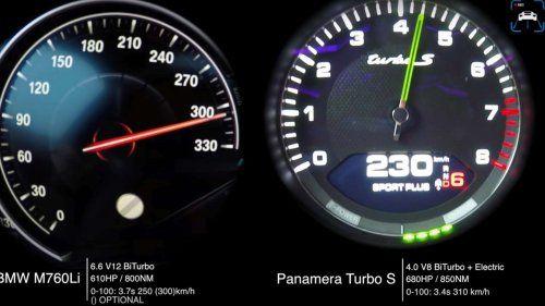 bmw m760li porsche panamera turbo s e-hybrid
